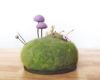Purple Mushroom Scene Pin Cushion, Miniature Mushroom, Nature Decor Pincushion, Crafty Mom Gift, Purple Mushrooms Made To Order