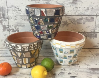 Broken China Mosaic Flower Pot - 6 Inch Choice of Color