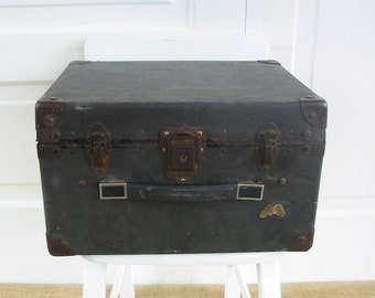 Vintage Black Case, Black Suitcase, Industrial Case, Military Storage, Typewriter Case, Industrial Case, Industrial Storage, Black Box