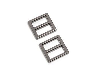 "10pcs - 3/4"" (20mm) Flat Diecast Slide Buckle - Black Nickel - (FBK-107) - Free Shipping"