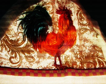 Crochet hanging towel, Rooster, Red top