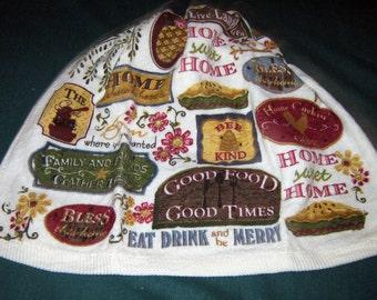 Crochet Kitchen Hanging Towel Signs Good Food Good Times Beige top Ritz design