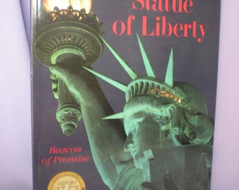 American History Book, Statue of Liberty, New York City, Ellis Island, Gift for Bibliophile, Vintage Books