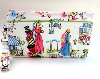 Springtime  in Paris wristlet, clutch, summer wedding, bridesmaid  clutch, cosmetic bag, makeup bag, cocktail clutch, gift for her