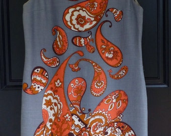 Vintage Dress 1960s Orange Gray Paisley Sheath