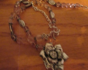 pink glass flower necklace