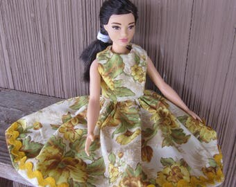 Curvy Barbie Yellow Floral Doll Dress Trimmed in Ric Rac