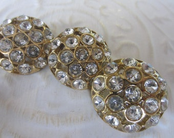 Vintage Buttons - 3 beautiful flower design rhinestone embellished, antique gold finish metal (jan 163-17)