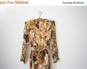 BLACK FRIDAY SALE vintage 60s Nat Kaplan Couture Gold and Brown Floral Party Dress