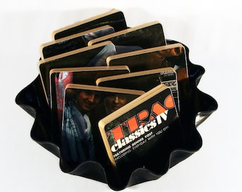 Classics IV handcrafted wood coasters created from recycled record album with warped vinyl bowl