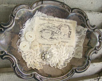 Handmade Altered Silver Tray Collage Vintage Silver Plate Altered Art Original Vintage French Vintage Lace Rhinestone Shabby White  Decor