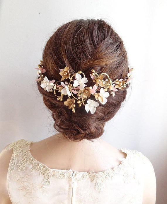 floral hair comb, bridal hair comb, floral hair piece, bridal hair vine, pink and gold hair vine, wedding hair comb, Swarovski headpiece