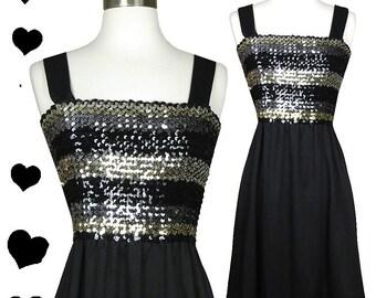 Vintage 70s 80s Dress // Silver Black Sequin Disco Dress S M L Os Metallic Tube Top Boho Hippie 1970s 1980s Aline Skirt Straps Stretch Fit