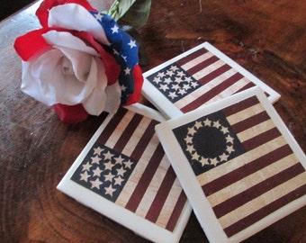 USA Flag Coaster Set (3) Patriotic Patriot Red White Blue Gift Christmas Non Slip Beer Wine Coffee Mug Drink