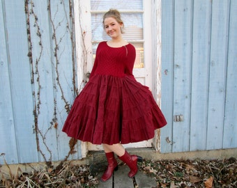 True Red Swing Sweater Dress// Medium// Upcycled// emmevielle