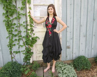 Romantic Embroidered Floral Applique Black Halter Dress// Upcycled// Summer// emmevielle