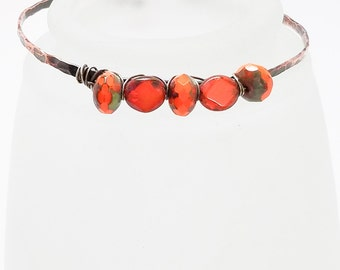 Hammered Copper Bracelet -  Czech Orange Faceted Rondelle and Flat Oval Orange Beads