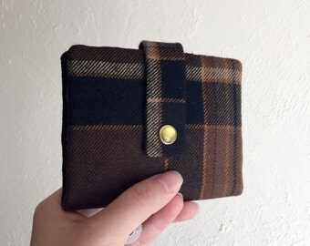 Upcycled Wool Plaid Wallet - Midsize Cash and Card Wallet with Change pouch