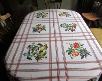 Fab vintage  70s summer fruits tablecloth 72X88