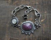 Pink Purple rose cut sapphire rose cut moonstone bracelet by teresamatheson