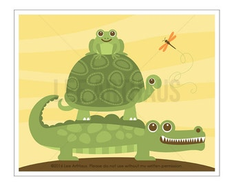104A Alligator Print - Turtle with Alligator and Frog Wall Art - Alligator Wall Art - Alligator Nursery - Turtle Nursery - Frog Print