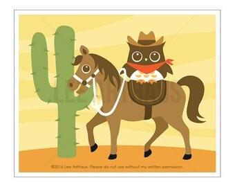 118A Horse Print - Cowboy Owl on Horse Wall Art - Horse Art - Owl Print - Baby Boy Woodland Nursery Decor - Baby Room Wall Art - Cowboy Owl