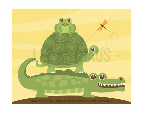 104A Alligator Print - Turtle with Alligator and Frog Wall Art - Alligator Wall Art - Alligator Nursery - Turtle Nursery - Frog Print