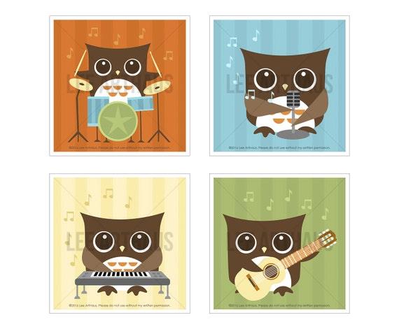 1S Owl Nursery Print - Rock Band Owl Wall Art Set - Set of 4 Prints - Art for Children - Modern Owl Wall Art - Owl Guitar - Owl Drums