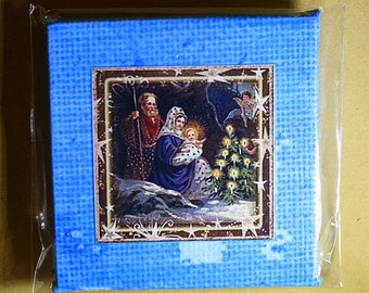 Nativity Mini Canvas Magnet - Two Inch