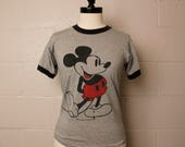 Vintage 1970's 1980's Classic Gray Heather Mickey Mouse Ringer T shirt S