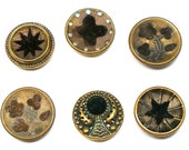 RESERVED Antique Perfume BUTTONs, 6 Victorian buttons with velvet. Reserved for JK.