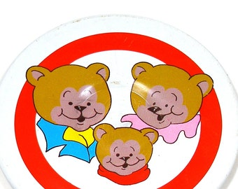 60's Tin Toy Tea plate, Goldilocks & the 3 bears, storybook graphics. Fairy tale.