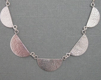 Half moon necklace, hand forged textured half moon artisan necklace 18 inches, metalsmith sterling silver necklace