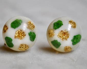 Lucite Confetti Button Earrings