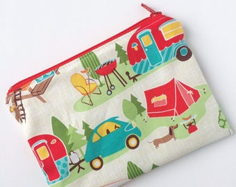 Zippered Snack Bag - Kids Snack Bag - Lunch Pouch - Camping Snack Bag - Lunch Bag - Happy Camper