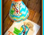 Fishing Birthday Hat and Shirt, Fishing Cake Smash, Gone Fishing Birthday, Baby Fishing Hat and Bodysuit, First Birthday Fishing Hat