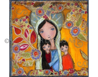Mother with two Sons -  Giclee print mounted on Wood (4 x 4 inches) Folk Art  by FLOR LARIOS