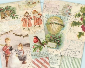 SALE SILENT NIGHT PAPeRs Collage Digital Images -printable download file-