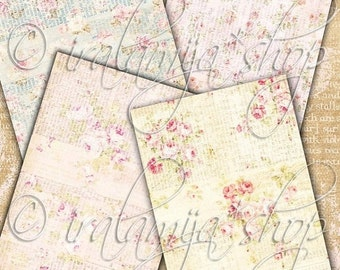 SALE SHABBY SCRIPT backgrounds Collage Digital Images -printable download file-