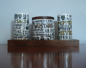 FOUND IN SPAIN -- porcelain serving set - amazing graphics - salt, pepper and mustard