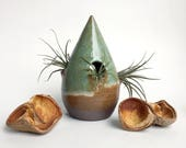 Raindrop pottery house - multiple oval lipped entries - air plant vase, planter, or holder