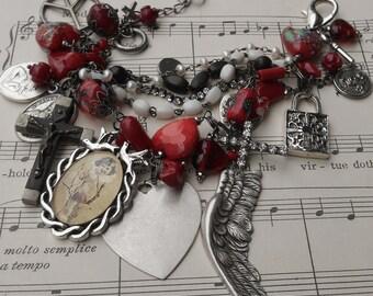 My Funny Valentine  Vintage Glass Heart & Medals Rosary Charm Bracelet