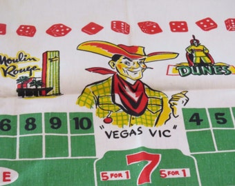 Vintage Souvenir Las Vegas Tablecloth VLV UNUSED MINT