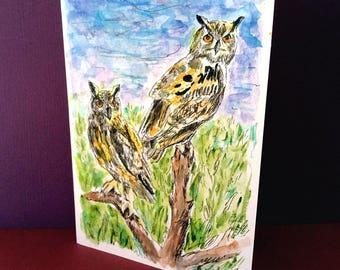 Two Owls, Owl Card, Owl Original Watercolor, Eurasian Eagle Owl, Tiger Owl, Owl Lover Card, Owl Gifts, Bird Artork, 5X7 Inch, Owl Painting