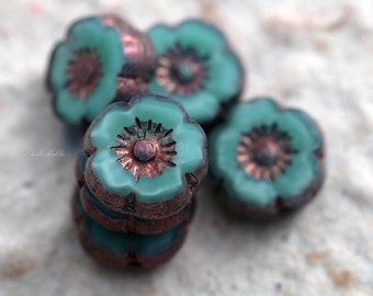 SEAFOAM PANSY .. NEW 6 Picasso Czech Glass Flower Beads 8mm (5567-6)