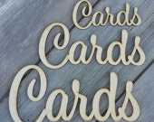 "CARDS Sign - FREE SHIPPING US48 - 2 to 4"" Laser Cut Wooden Cards Sign-Cards banner- Cards wedding decor-Card Box Sign"