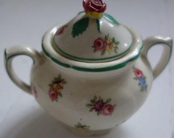 vintage empireware ceramic rose topped sugar pot