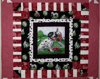 Baby Quilt, Wall Hanging, Dalmation Dog, Red, Black and White