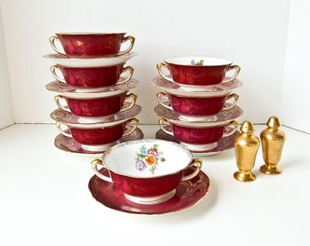 Vintage Soup Bowls,  Cream Soup Bowls and Saucers, Czechoslovakia Epiag China, 8 Soup Bowls 8 Saucers