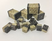 Vintage and Unique Set of Hand Carved Soap Stone Beads - Chocolate and Cream - Small Square Beads with Large Lantern Focal Beads Pendants
